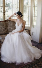 Backless Ethereal Spaghetti Straps Plunging V-neck Tulle Lace Appliqued Wedding Dress