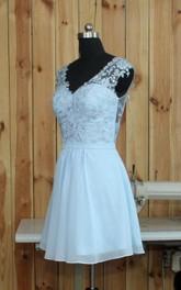 Short V-neck Chiffon Dress With Lace