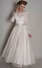 A-Line Lace Long-Sleeve Floor-Length Scoop-Neck Satin&Tulle Wedding Dress With Bow