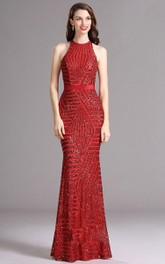 Sheath Halter Sleeveless Sequins Illusion Dress