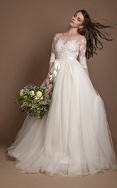 Tulle Lace Dress With Beading Appliques Illusion Button Zipper