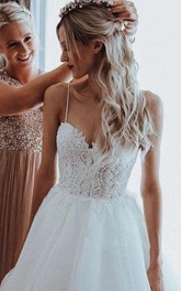 Ethereal Spaghetti Lace and Tulle Ball Gown Floor-length Sleeveless Wedding Dress with Beading