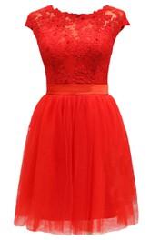 Short-sleeve Lace Bodice Dress With Satin Sash