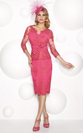 Knee-Length Appliqued V-Neck Illusion Sleeve Jersey Mother Of The Bride Dress With Bow
