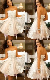 A-line Sleeveless Lace Tulle Sweetheart Open Back Zipper Short Mini Homecoming Dress