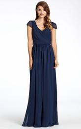 Pleated V-Neck Floor-Length Cap-Sleeve Chiffon Bridesmaid Dress With Low-V Back
