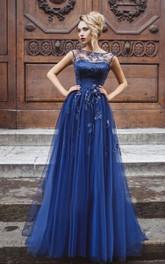 A-Line Floor-Length Bateau Short Sleeve Tulle Pleats Appliques Keyhole Dress