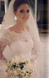 Mermaid Scoop Long Sleeves Lace Court Train Tulle Wedding Dresses