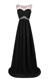 Cap-sleeved Chiffon Gown With Beaded Neckline