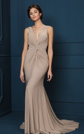 Sheath V-Neck Ruched Sleeveless Long Chiffon Evening Dress