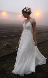 A-line Princess V-neck Floor-length Cap Sleeve Lace Chiffon Wedding Dresses