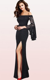 Sexy Lace Off-the-shoulder Mermaid Guest Evening Dress With Split Front