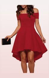 Taffeta Short High-Low A Line Short Sleeve Modern Solid Dress with Pleats