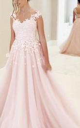 A-Line Lace Tulle Straps V-neck Short Sleeve Zipper Illusion Dress