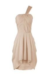 One-shoulder Mini Tiered Chiffon Dress With Pleats
