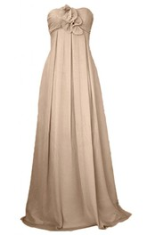 Strapless Appliqued Bodice Long Satin Dress