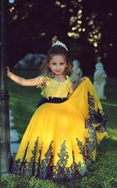 Lovely Yellow Appliques Flower Girl Dresses Floor Length Pageant Dresses