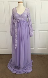 Chiffon Lace A-line Illusion Long Sleeve V-neck Maternity Dress