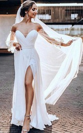 Chiffon Tulle Court Train A Line 3/4 Length Sleeve Wedding Dress with Split Front