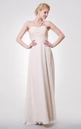 Graceful A-line Chiffon Long Dress With Ruched Waist