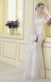 Sweep Long Tulle Wedding Veil with Lace Edge