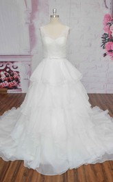 Cute Ruffle Lace Organza Sleeveless Wedding Dress Ballgown With Bow And V-back