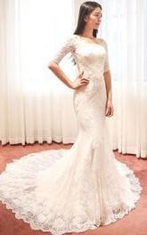 Off-the-shoulder Half Sleeve Mermaid Brush Train Lace Ivory Wedding Dress