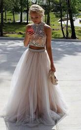 A-Line Tulle High Neck Sleeveless Zipper Keyhole Dress