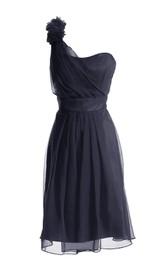 One-shoulder Appliqued Ruched Knee-length Chiffon Dress
