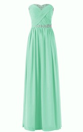 Sweetheart Sequined Chiffon Sheath Gown With Criss-cross
