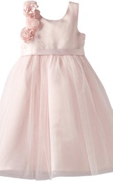 Sleeveless A-line Dress With Floral Shoulder and Bow