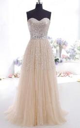 A-Line Tulle Sequins Sweetheart Sleeveless Zipper Dress