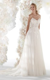Tulle Ethereal Wedding Dress With Open Back Spaghetti Straps Lace Appliques And Ruching