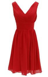 Elegant V-neckline Chiffon Dress With Basque Waist