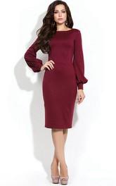 Bateau Long Puff Sleeve Sheath Jersey Knee Length Dress With U Back