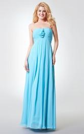 Backless A-line Long Chiffon Dress With Ruching
