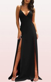 Casual Satin V-neck A Line Sleeveless Prom Dress With Split Front