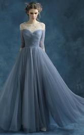A-line Half Sleeve Long Draping Beading Tulle Dress
