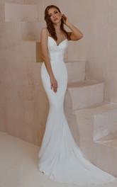 Sexy Spaghetti Satin Lace Mermaid Sleeveless Floor-length Sweep Train Wedding Dress