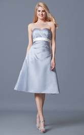 Sweetheart Empire Waist Tea-length Satin Dress With Ruching