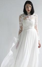 Illusion Lace And Chiffon High Neck Long Sleeve Wedding Dress