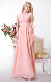 Bateau Neckline Chiffon A-line Floor Length Dress