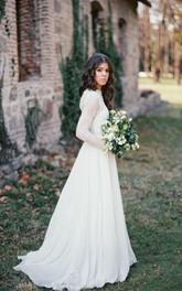 Long Sleeve Lace Weddig Dress With Corset Back