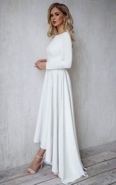 Casual Modern Bateau A Line High-Low Long Sleeve Wedding Dress