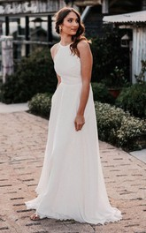 Bohemian A Line Halter Lace Chiffon Floor-length Open Back Wedding Dress
