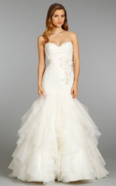 Glamorous Sweetheart Neckline Organza Ruffle Dress With Lace Bodice