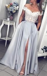 Satin Lace Floor-length A Line Sleeveless Modern Evening Dress with Ribbon