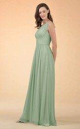 Simple One-shoulder A Line Sleeveless Floor-length Chiffon Bridesmaid Dress With Ruching