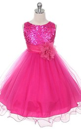 Sleeveless A-line Sequined Dress With Flower