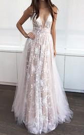 A-Line Lace Tulle V-neck Sleeveless Deep-V Back Dress